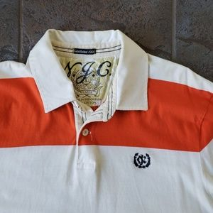 Nautica Polo Shirt Orange White XL